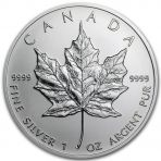 1 troy ounce zilver Maple Leaf munt